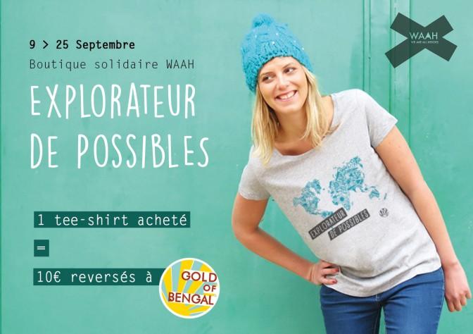 Ouverture de la boutique solidaire WAAH – 1 tee-shirt acheté, 10€ reversés à Gold of Bengal
