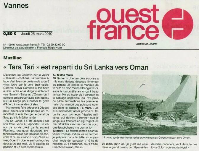 #TaraTari est reparti du Sri Lanka vers Oman – Ouest France